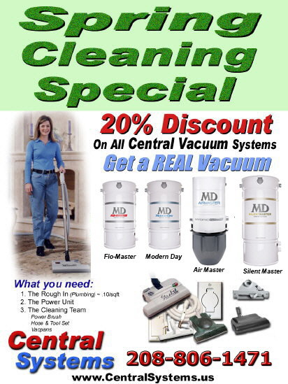CentralSystems.us IdahoCentralVacuum.com providing Idaho Central Vacuum Systems central vacuum service and repair and central vacuum accessories parts and supplies boise meridian nampa eagle middleton star kuna mccall donnelly sun valley idaho